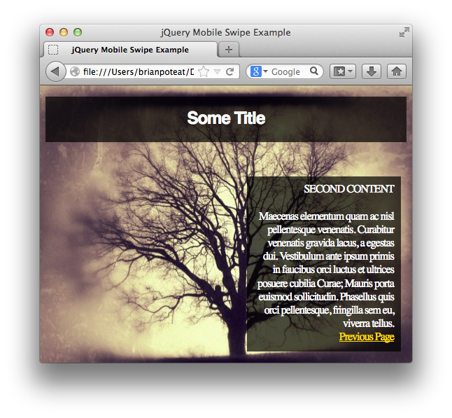 jQuery Mobile Transitions: Static vs Dynamic Content  Part I