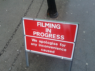 Image of sign, Filming in Progress